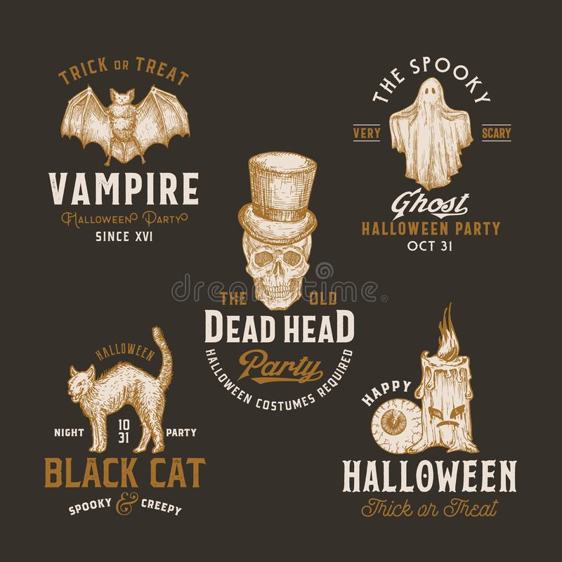 Free Vintage Style Halloween Logos Or Labels Template Set. Hand Drawn Vampire Bat, Scull, Candle, Eye, Cat And Ghost Sketch Stock Images - 160038484