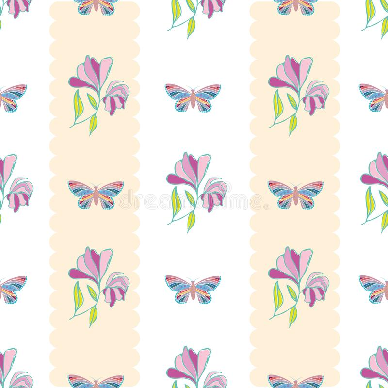 Vintage style hand drawn butterflies and flowers design. Seamless vertical geometric vector pattern with pastel stripes vector illustration