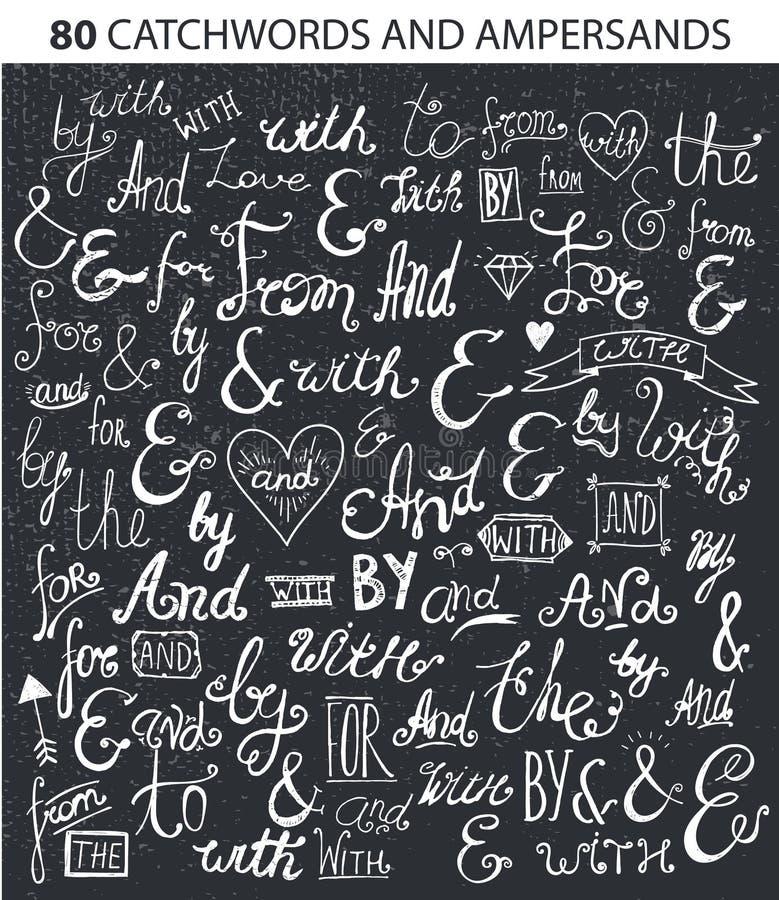 Vintage Style Hand Lettered Ampersands and Catchwords for Logo Label Designs. Vintage Style Hand Lettered Ampersands and Catchwords for Logo and Label Designs vector illustration