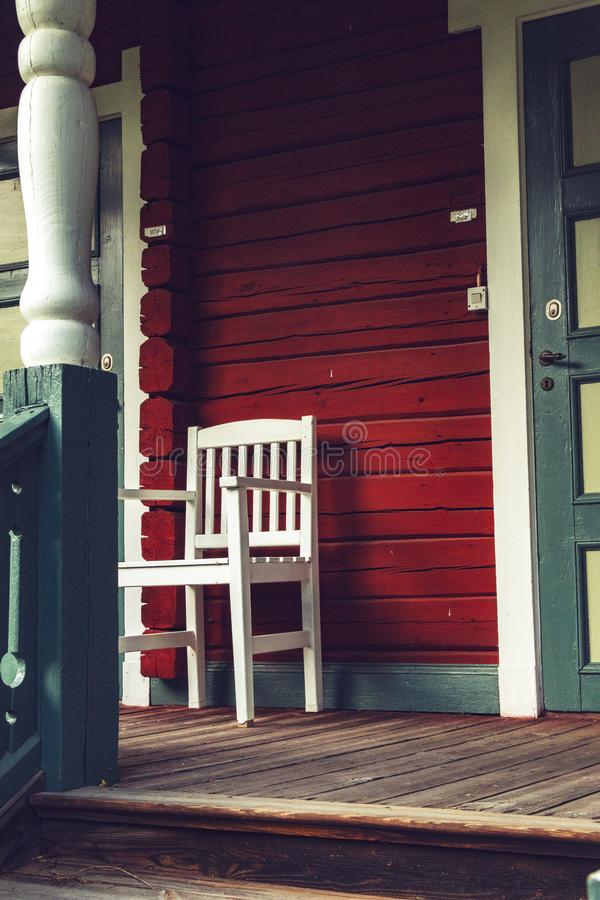 Vintage style image from the porch of a very old Swedish house. royalty free stock photography