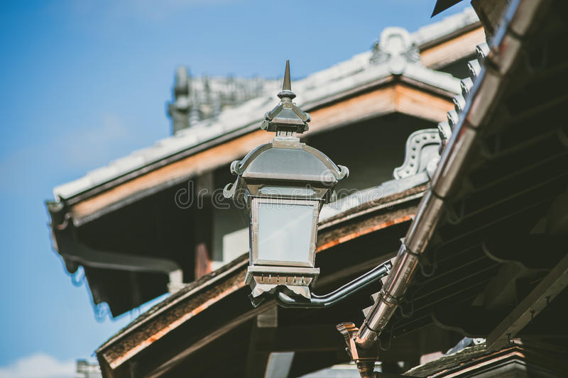 Vintage style Japan retro lamp in Kyoto city decorate old house royalty free stock photography
