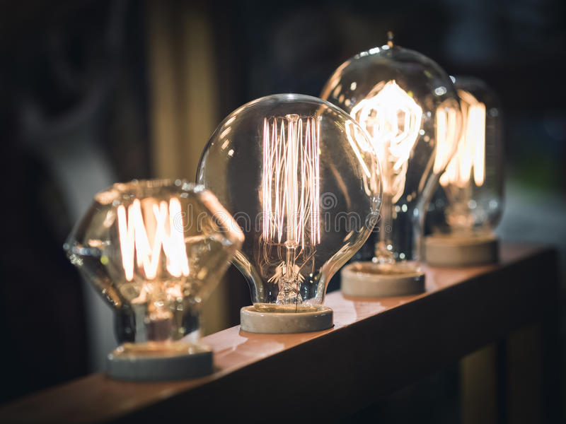 Vintage style light bulbs Interior decoration display. Power and Energy royalty free stock photos