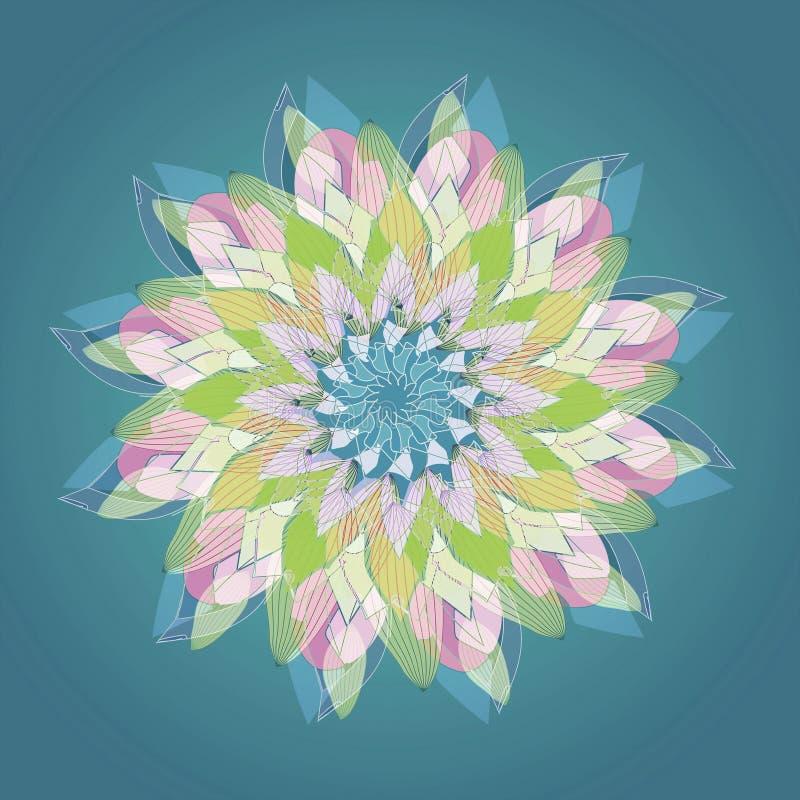 LOTO MANDALA FLOWER, PLAIN BLUE BACKGROUND. CENTRAL FLOWER IN PASTEL COLORS PALLET stock image