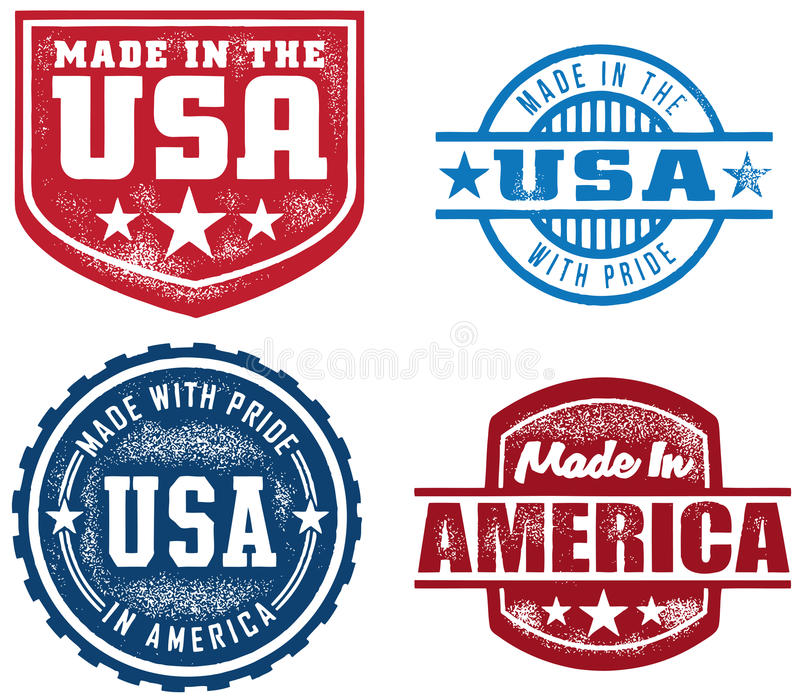 Vintage Style Made in USA Stamps royalty free illustration