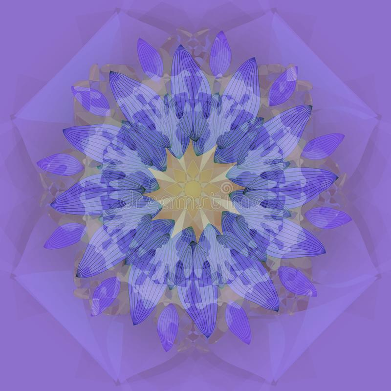MANDALA FLOWER. PLAIN PURPLE BACKGROUND. CENTRAL FLOWER IN YELLOW, AND PURPLE. VINTAGE STYLE MANDALA FLOWER. PURPLE ABSTRACT BACKGROUND, CENTRAL FLOWER IN BLUE stock illustration