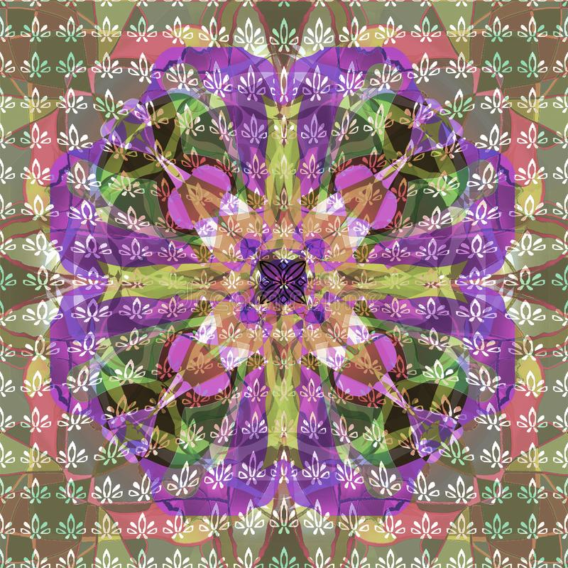 MANDALA FLOWER. TEXTURED IMAGE. ABSTRACT BACKGROUND. CENTRAL FLOWER IN PURPLE, VIOLET, PINK, GREEN. VINTAGE STYLE MANDALA FLOWER. TETURED IMAGE. ABSTRACT royalty free illustration
