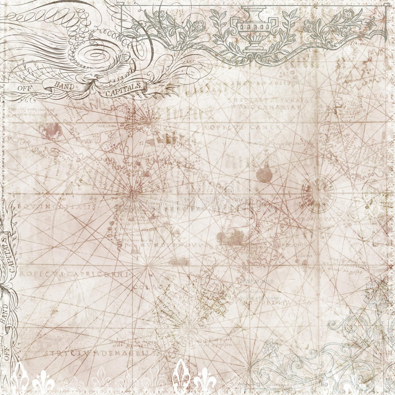 Free Vintage Style Map Background With Victorian Motifs Royalty Free Stock Image - 17632436