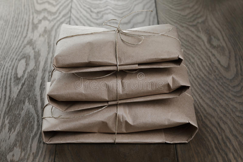 Vintage style parcels wrapped with rope royalty free stock photo
