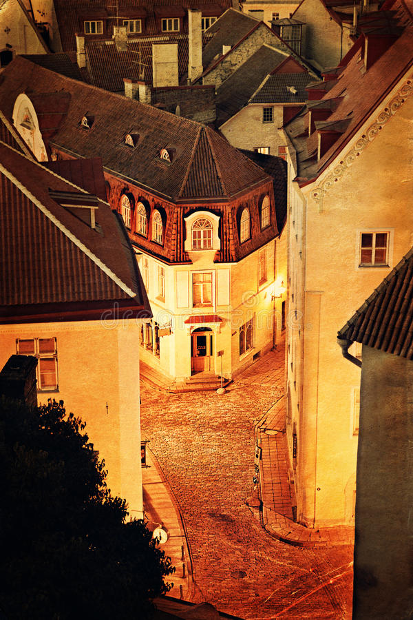 Download Old European town at night stock image. Image of european - 29838983