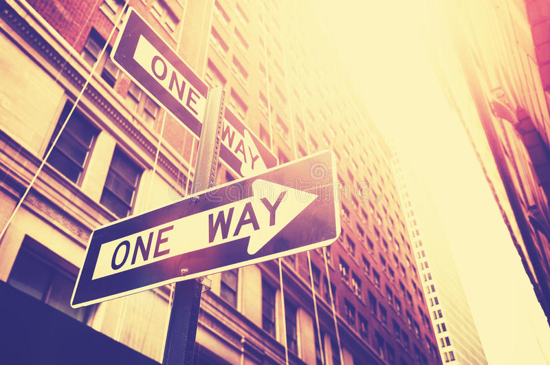 Vintage style photo of the one way signs in Manhattan, NYC. royalty free stock photos