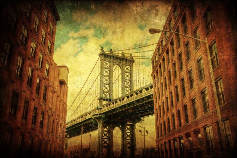 Vintage style picture of the Manhattan Bridge in Manhattan, New York City. Vintage style picture with the Manhattan Bridge seen from Dumbo, Brooklyn, New York stock photos
