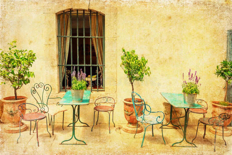 Vintage style picture a mediterranean scene stock photography