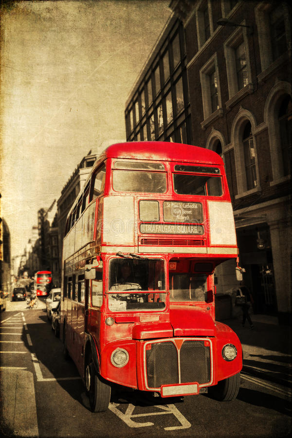 Vintage style picture of a Routemaster in London. Vintage style picture of a classic Routemaster bus in London, UK royalty free stock photography