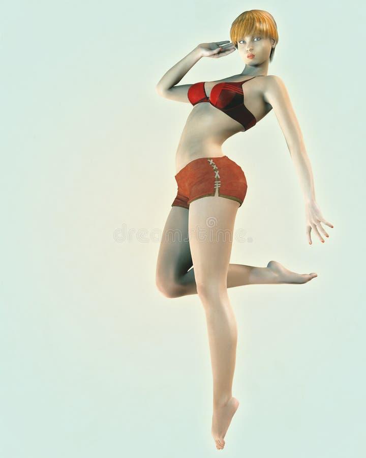 Vintage Style Pin-Up Illustration of Bikini Girl stock illustration