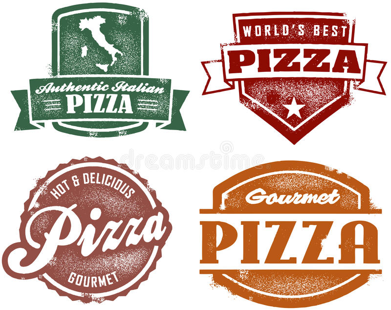 Vintage Style Pizza Stamps vector illustration