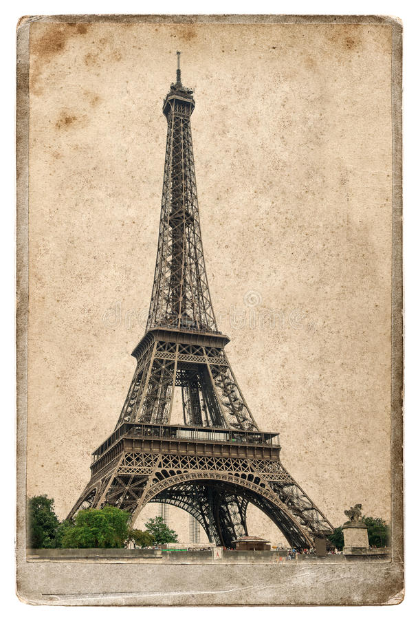 vintage style postcard concept with eiffel tower paris stock image image 52167799. Black Bedroom Furniture Sets. Home Design Ideas