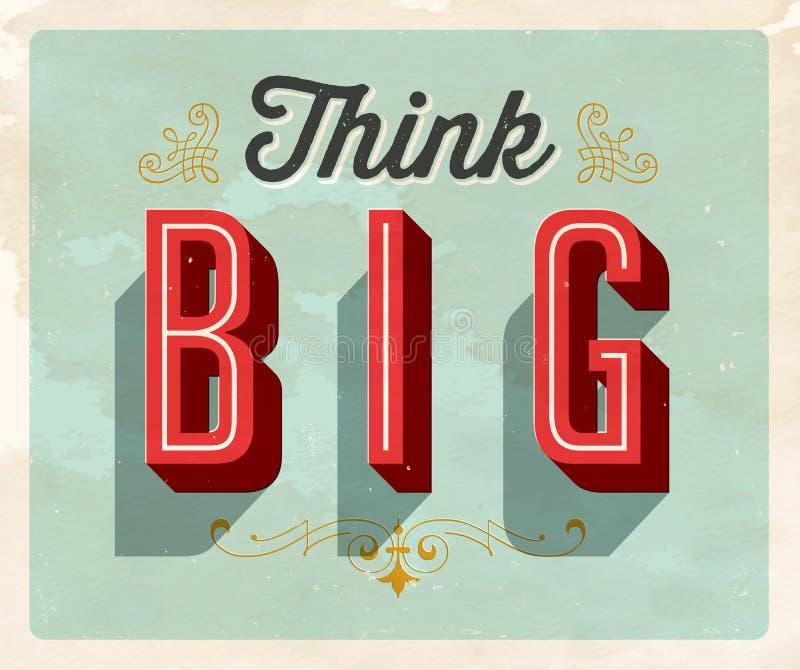 Vintage Style Postcard - Think Big. stock illustration