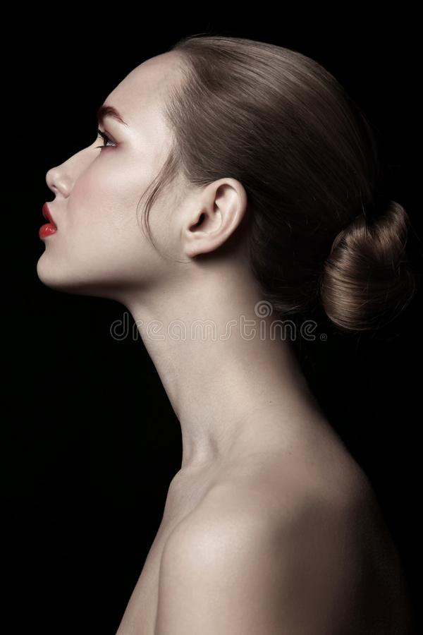 Vintage style profile portrait of beautiful woman with hai royalty free stock photos