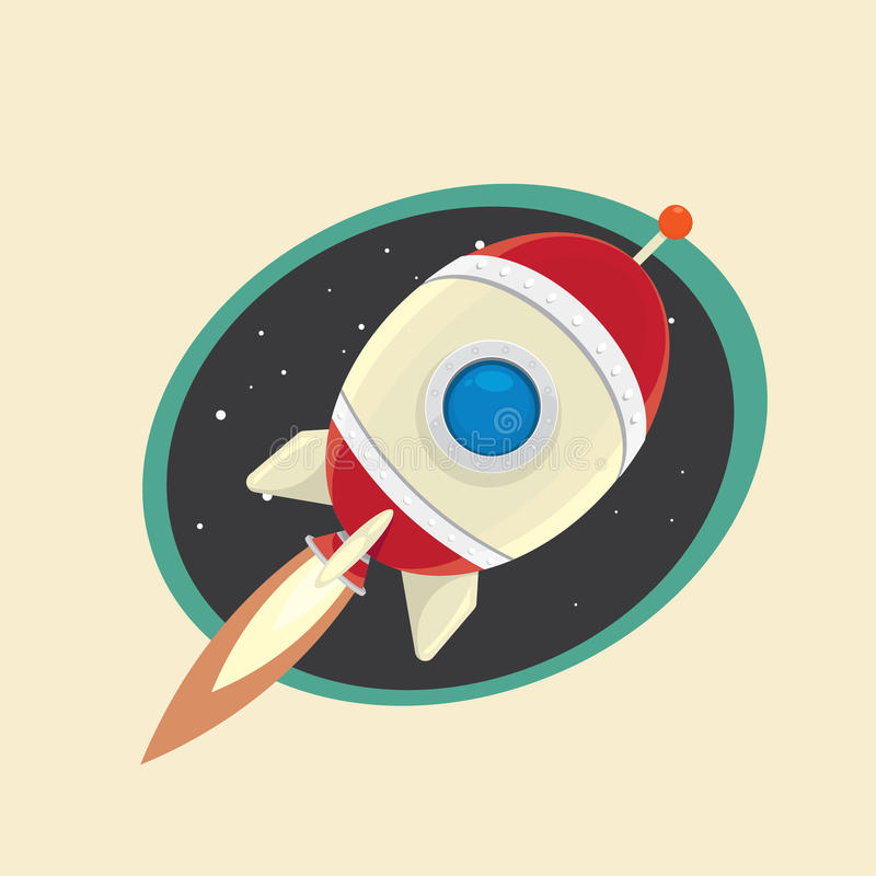 Vintage style retro poster of Space rocket. Retro poster of Space rocket in space. vector illustration vector illustration