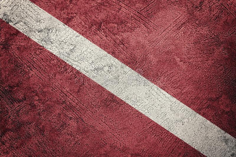 Vintage style scuba flag. Diver down flag. Grunge texture flag royalty free stock photos