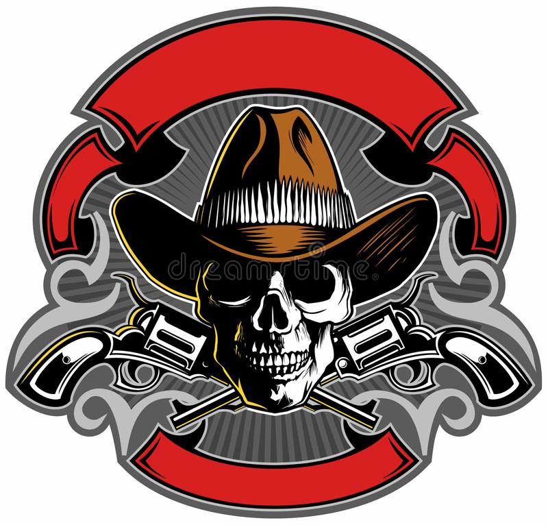 Vintage style skull with cowboy hat, crossed guns and banners, vector skull logo design. stock illustration