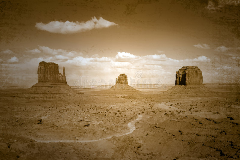 Vintage Style Stained Image Of Monument Valley Lan Royalty Free Stock Photos