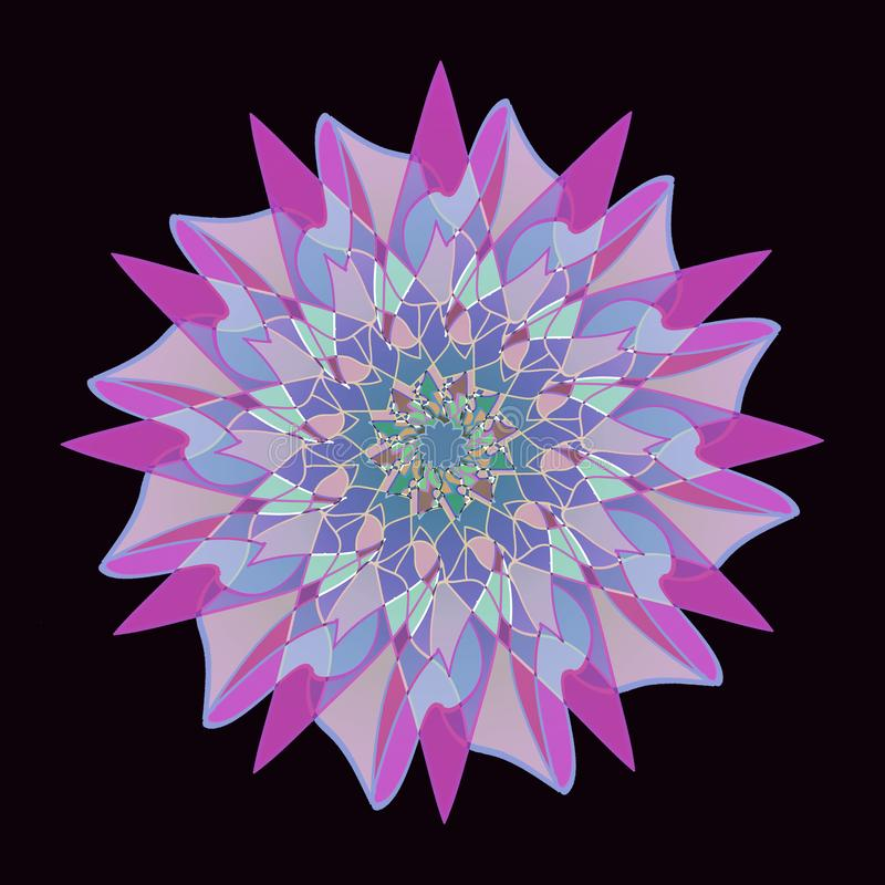STAR MANDALA. PLAIN BLACK BACKGROUND . PASTEL COLORS PALLET. CENTRAL FLOWER IN PURPLE, PINK, FUCHSIA, LIGHT BLUE, BLUE,. VINTAGE STYLE STAR MANDALA. PLAIN BLACK stock illustration