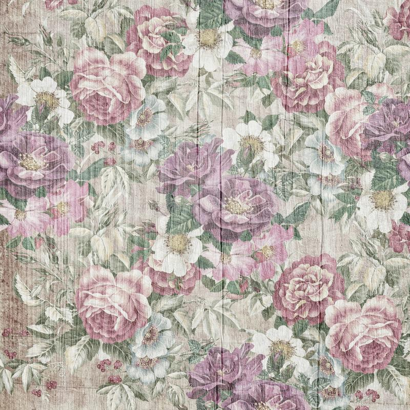 Vintage style of tapestry flowers pattern on wooden background. Template for decoration and design stock illustration