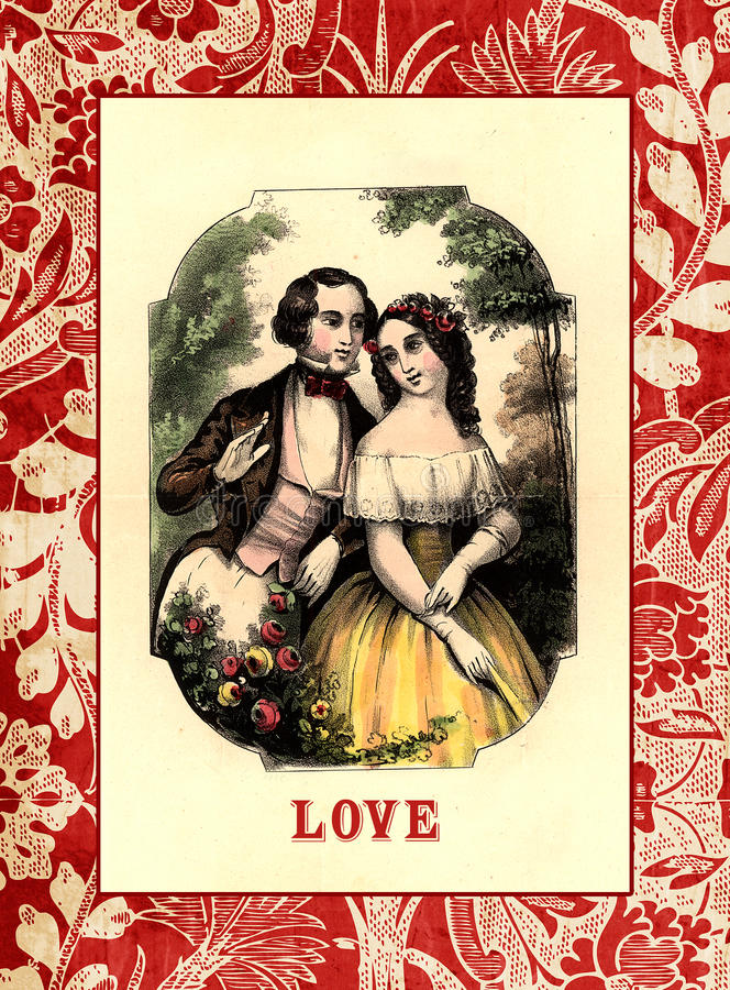 Vintage style valentine card with couple drawing. Vintage style valentine card with love text and victorian couple illustration vector illustration