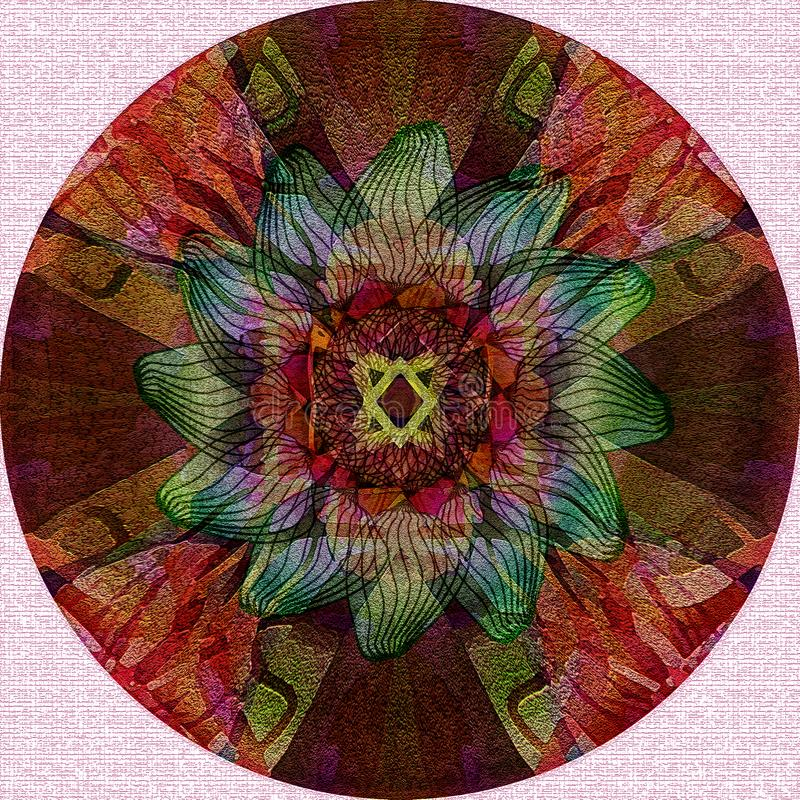 MANDALA FLOWER. WHITE TEXTURED BACKGROUND. CENTRAL FLOWER IN BURGUNDY, RED, BROWN, GREEN. VINTAGE STYLE stock photo