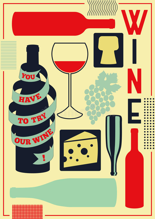 Download Vintage Style Wine Poster Retro Vector Illustration Stock