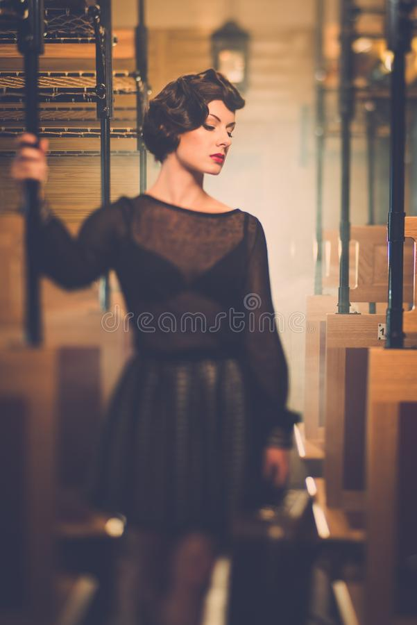 Download Vintage Style Woman Inside Retro Train Stock Image - Image: 39766083
