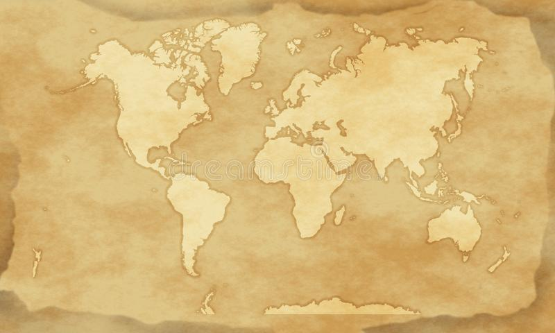 Vintage style world map background stock illustration
