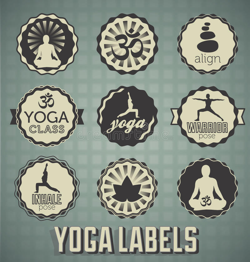 Download Vintage Style Yoga Labels stock vector. Image of fitness - 29513908