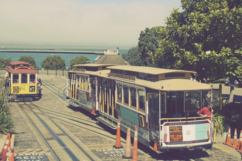 Vintage Styled Image - Historic wooden cable car royalty free stock photos