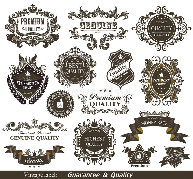 Vintage Styled Premium Quality and Satisfaction Gu royalty free illustration