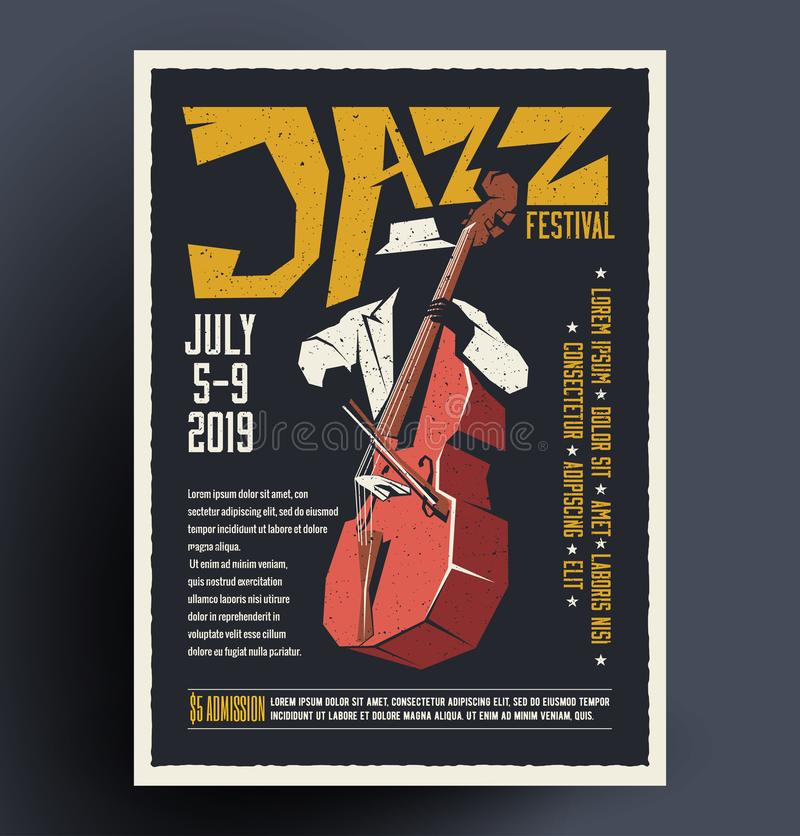 Poster, placard, flyer, invitation template for jazz music festival, concert. Vector illustration in hand drawn cartoon style. royalty free illustration