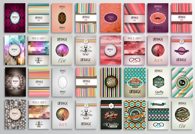 Vintage Styles brochure templates set with Labels. royalty free illustration