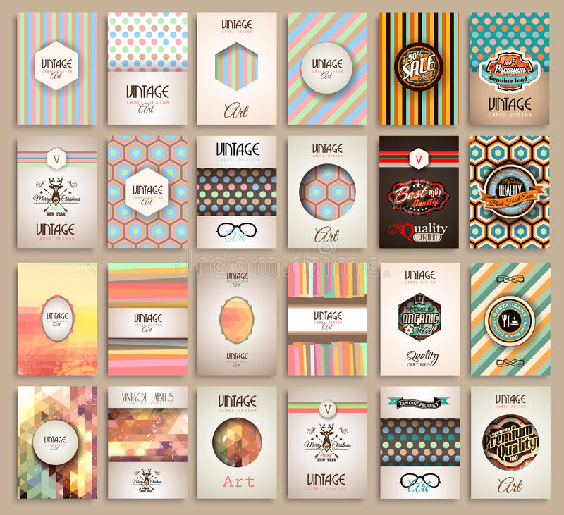 Vintage Styles brochure templates set with Labels. Vintage background to use as frames for advertising. Old dated look.Retro Patterns for Placards, Posters royalty free illustration