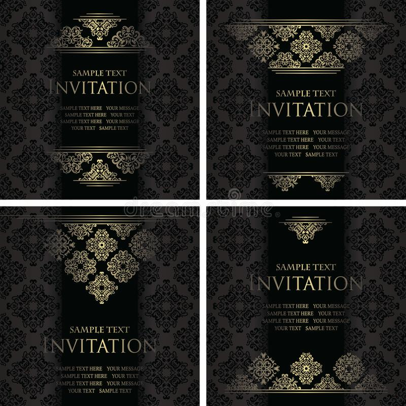 Vintage stylish design for your invitation. Set of templates for decoration. With original square motifs. Retro background royalty free illustration