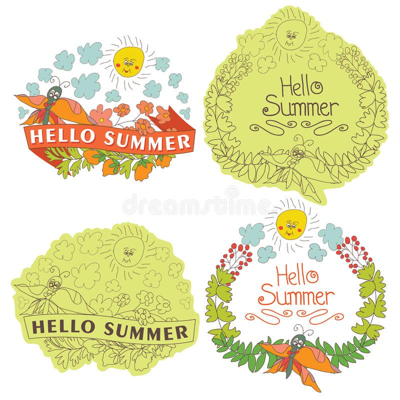 Vintage Stylish floral label with butterflies,bees,sun.Helow sum. Stylish floral label greeting card,set with colored flowers, plants,ribbons,bees,sun,clouds in stock illustration