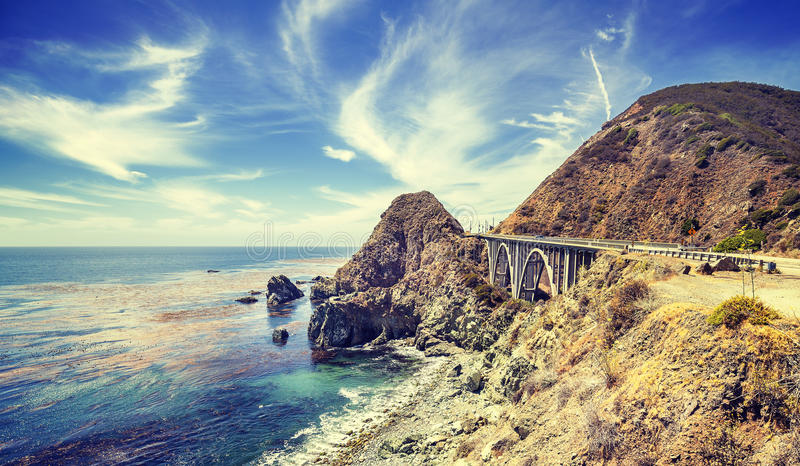 Vintage stylized California coastline along Pacific Coast Highway. Vintage stylized California coastline along Pacific Coast Highway, USA royalty free stock photography