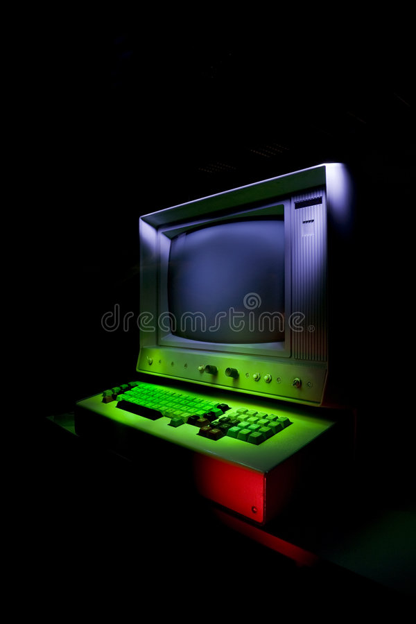 Vintage stylized computer. Retro pc stock images