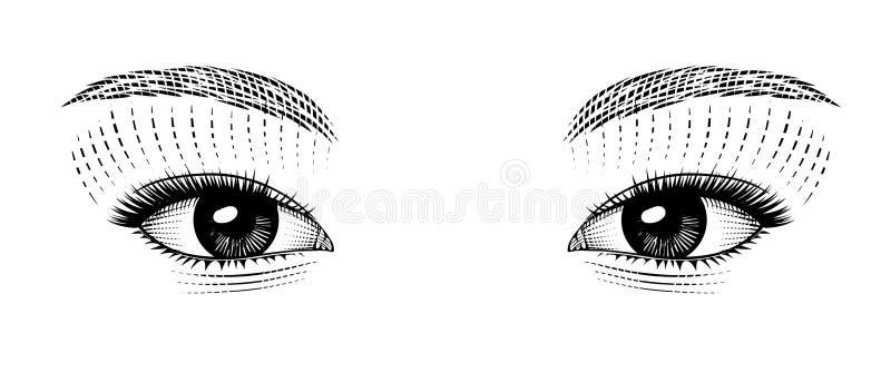 Vintage stylized drawing of eastern girl eyes. Eyes of eastern girl. Vintage engraving stylized drawing. Vector illustration royalty free illustration