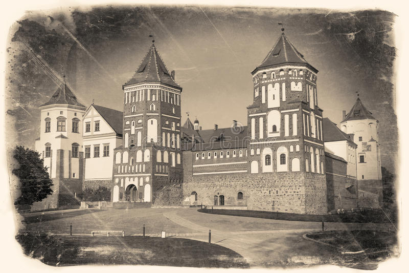 Vintage stylized image of belorussian landmark attraction. Vintage retro stylized travel image of belorussian tourist landmark attraction Mir Castle royalty free stock images