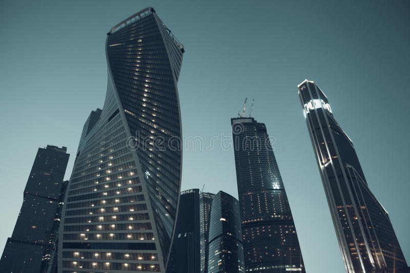 Vintage stylized photo of skyscrapers in Moscow stock photography