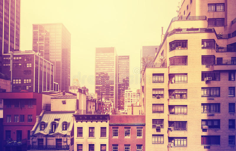 Vintage stylized picture of Manhattan, NYC, USA. stock photos
