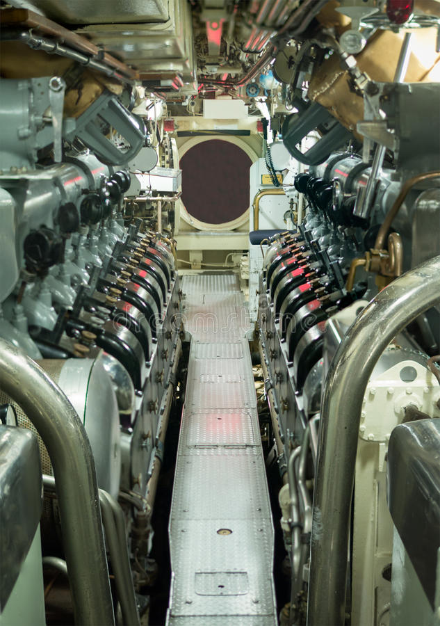 Boat Engine Room: Vintage Submarine Engine Room Stock Image
