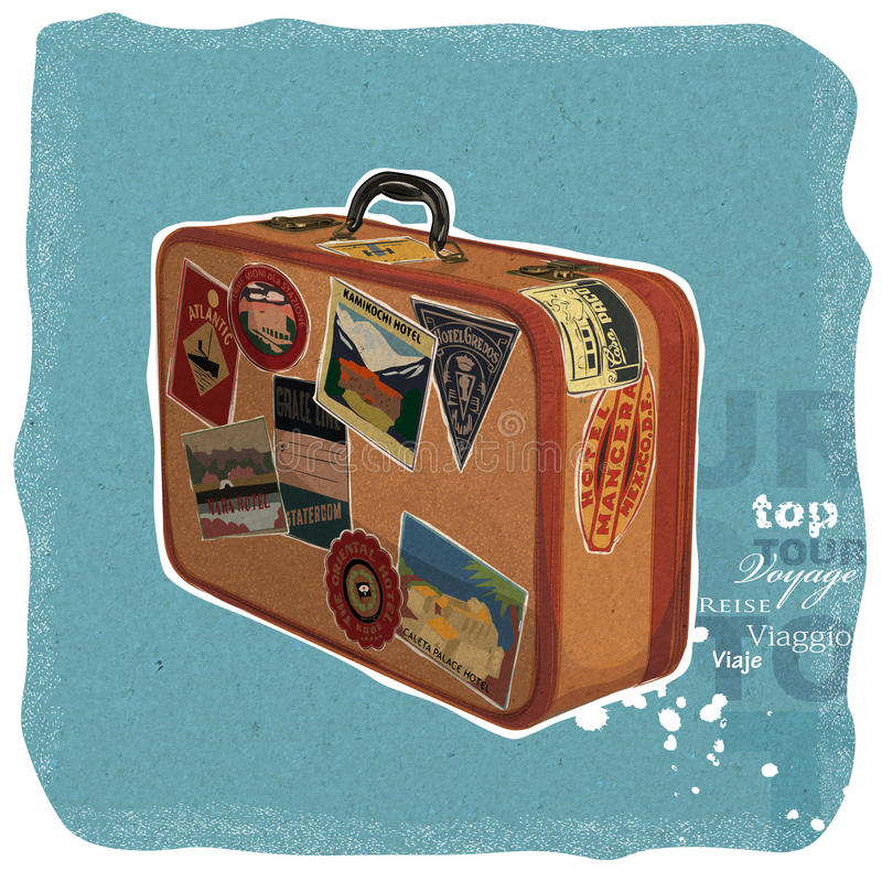 Vintage Suitcase. Illustration of a vintage suitcase with stickers on stock illustration