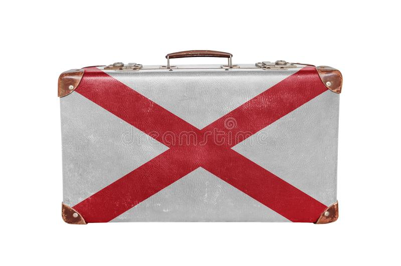 Vintage suitcase with Alabama flag royalty free stock photography